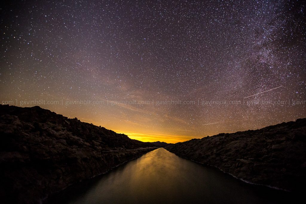 Water way under the Milky Way